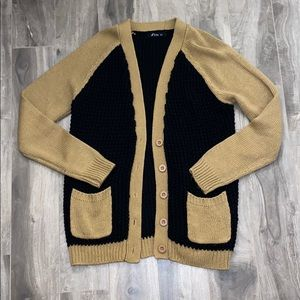 Women's long knit colour block cardigan
